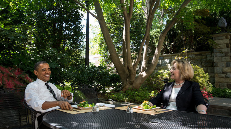 Obama has lunch with Clinton on the patio outside the Oval Office on July 29, 2013, after she ended her tenure as secretary of state.