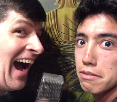 Host John Rabe and intern Matt Lee make funny faces while telling us a joke.