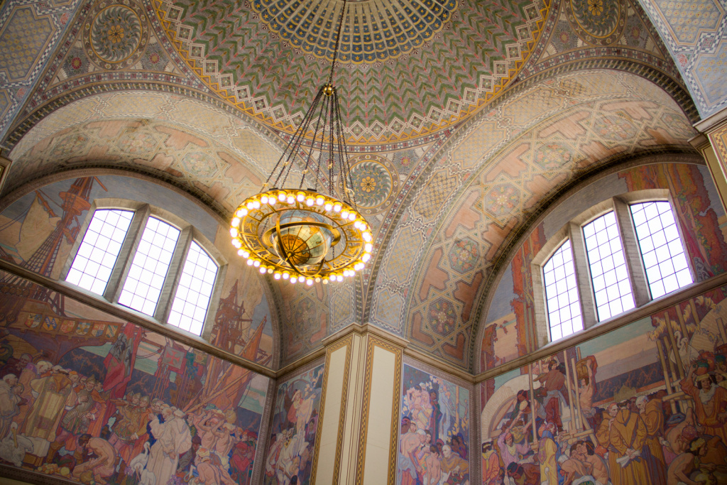 The murals in the L.A. Central Library rotunda represent four eras of California history, including discovery, mission building, Americanization and the founding of Los Angeles. Writer Susan Orlean's next book focuses on the mystery surrounding the fire that ravaged the Los Angeles Central Library back in April 29, 1986.