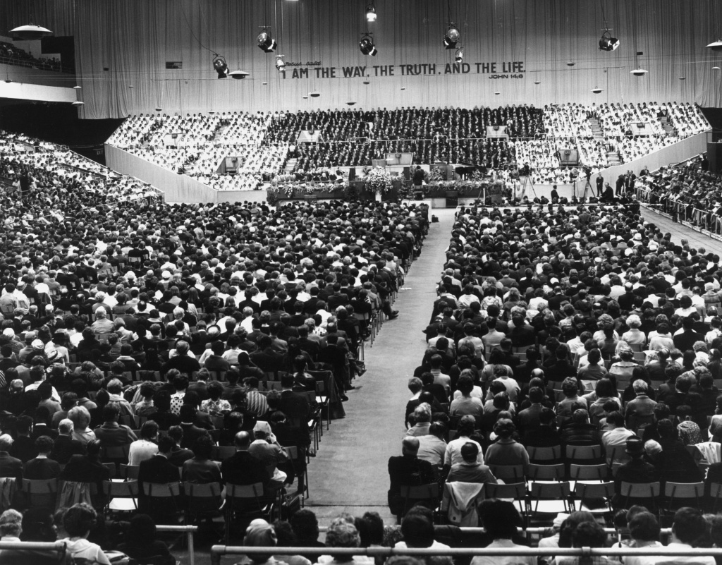 Crowded hall for one of Billy Graham's meetings at Earls Court in London.