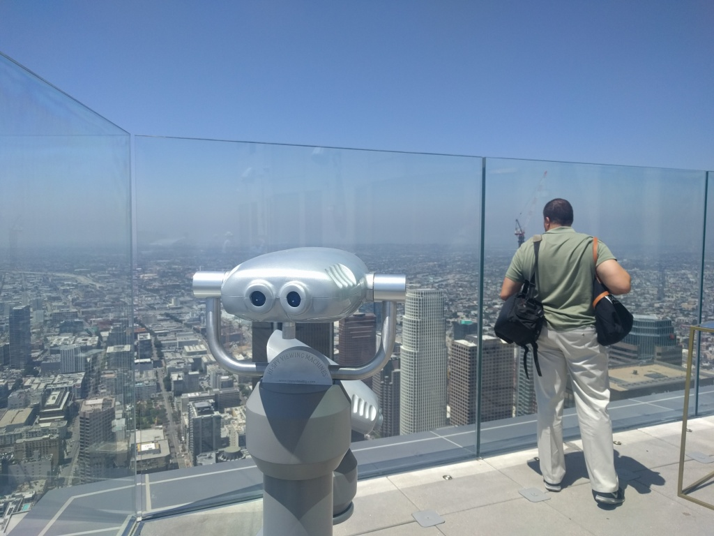 The view from the observation deck of SkySpace atop the U.S. Bank Tower in downtown L.A.