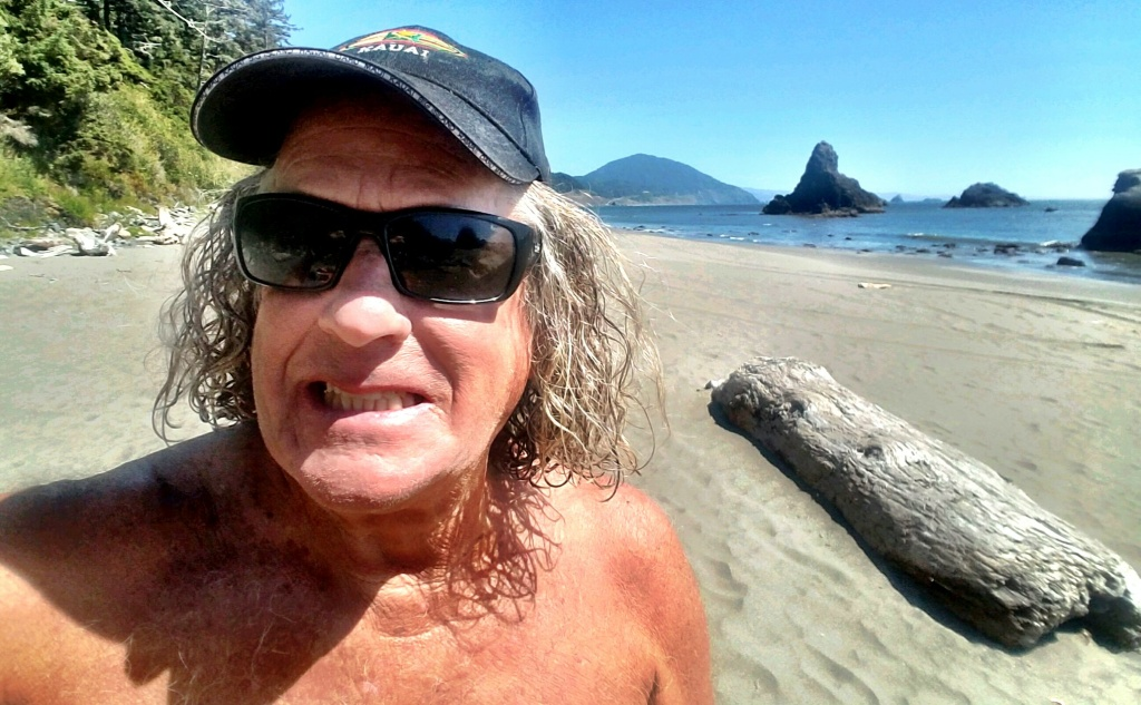 Surf Punks co-founder Dennis Dragon, on the beach in Oregon, his new home.