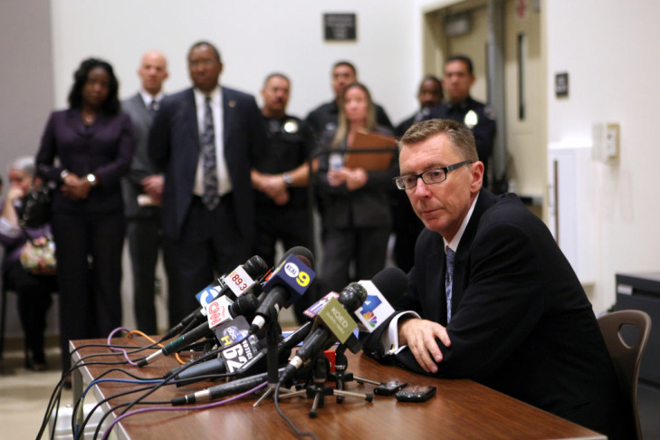 Los Angeles schools Supt. John Deasy  speaks during a press conference at South Region High School #2 in Los Angeles, California February 6, 2012.  Deasy earlier informed parents at a community meeting that the district was replacing the entire staff of Miramonte Elementary School in the wake of the arrests of two teachers on lewd conduct charges.