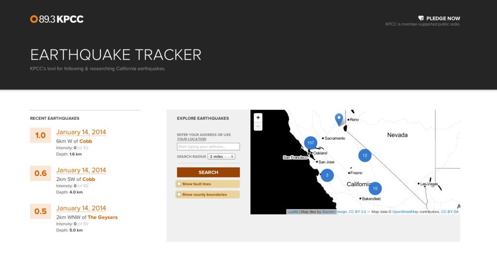 KPCC's Earthquake Tracker.