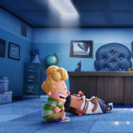 "(L-R) Harold (voiced by Thomas Middleditch) and George (voiced by Kevin Hart) crack up at the sight Captain Underpants (voiced by Ed Helms) in DreamWorks Animation's ""Captain Underpants: The First Epic Movie."""