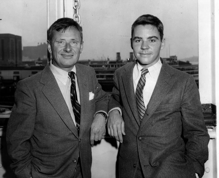 Noted author Christopher Isherwood with Donald Bachardy as they sailed for Italy in 1955 for a brief vacation.