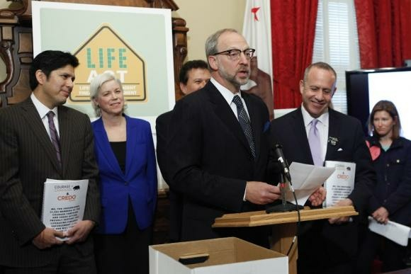 Rick Jacobs (at podium), seen here with California Senate President pro Tem Darrell Steinberg (right), has been involved with many progressive causes through his work with the Courage Campaign.