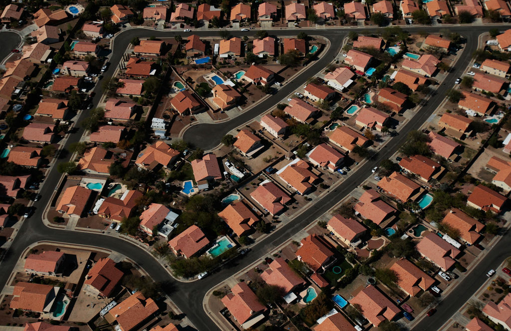A recently-built neighborhood of tight knit homes is seen April 5, 2008 on the outskirts of Tucson, Arizona.