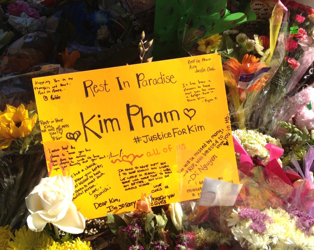 One of many messages left at a makeshift memorial for Kim Pham in downtown Santa Ana.
