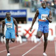 Jamaican sprinter Usain Bolt (C), Jamica