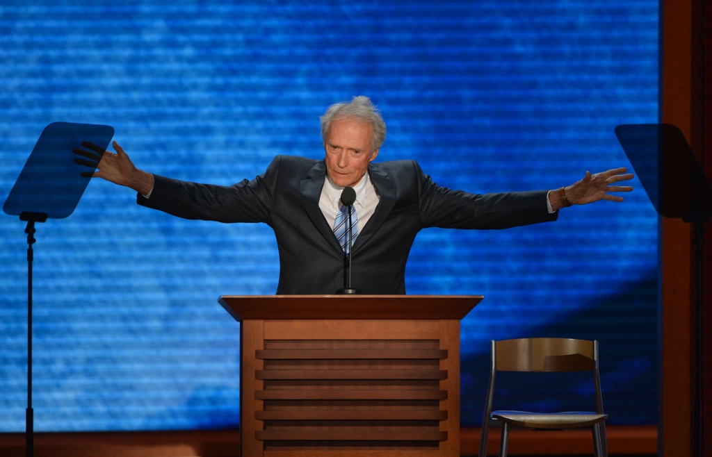 Actor-director Clint Eastwood speaks to the audience at the Tampa Bay Times Forum in Tampa, Florida, on August 30, 2012 on the last day of the Republican National Convention (RNC).