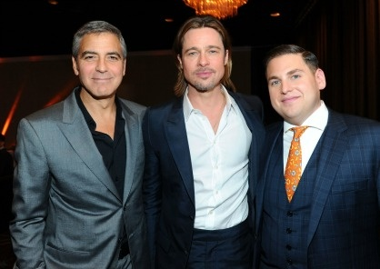 BEVERLY HILLS, CA - FEBRUARY 06:  (L-R) Actors George Clooney, Brad Pitt and Jonah Hill attend the 84th Academy Awards Nominations Luncheon.  (Photo by Alberto E. Rodriguez/Getty Images)