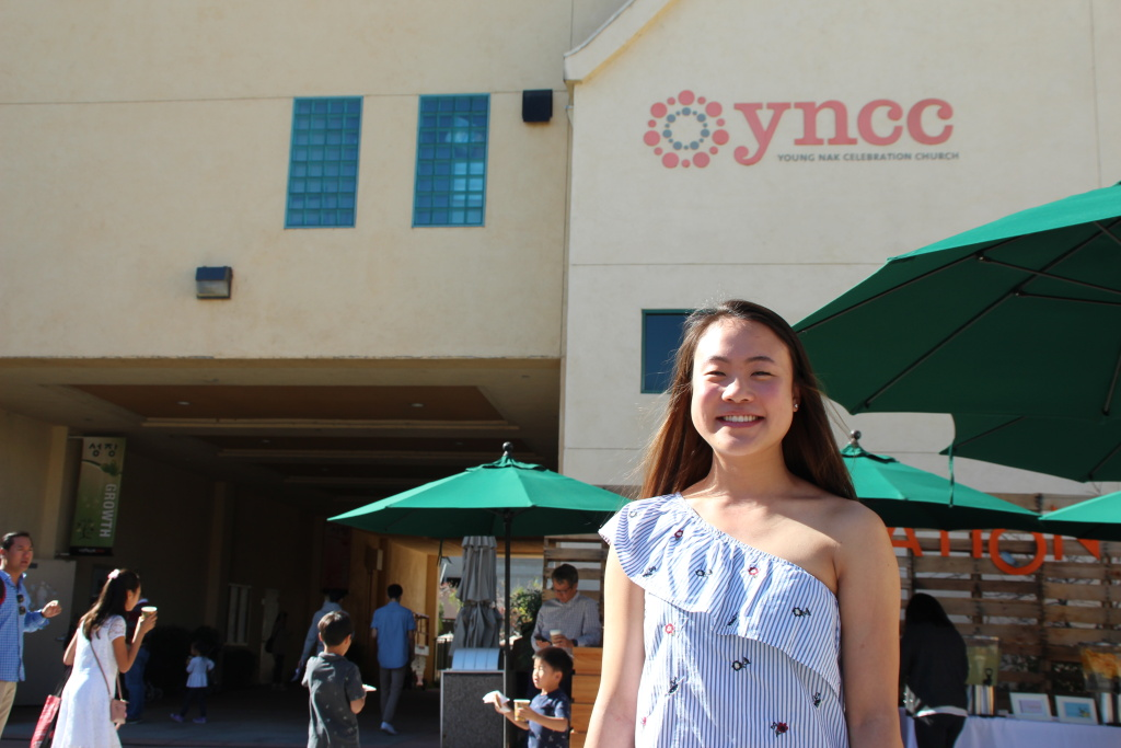 Victoria Yim after a Young Nak Sunday service. She continues to go on a weekly basis.