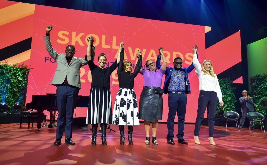 Trying to make the world a better place: (left to right) Skoll Award winners Gregory Rockson of mPharma, Nicola Galombik and Maryana Iskander of Harambee Youth Employment Accelerator, Nancy Lublin of Crisis Text Line, Bright Simons of mPedigree and Julie Cordua of Thorn.