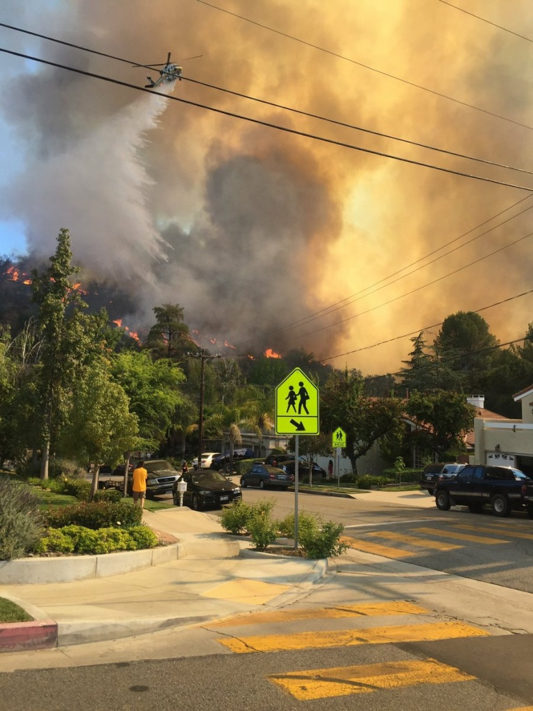 The Old Fire burns near homes in Calabasas on June 4, 2016.