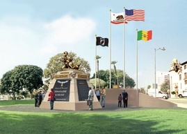 Artist's rendering of Eugene Obregon/Medal of Honor monument going up next to Olvera Street in downtown Los Angeles.