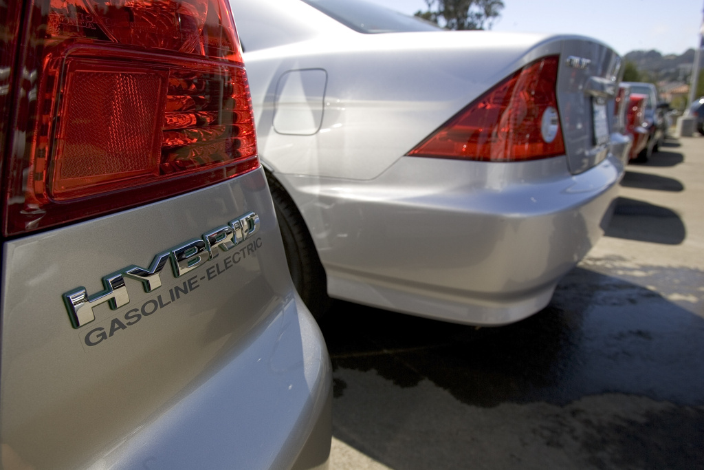 The hybrid cars are seen at the Honda dealership on September 1, 2005 in San Francisco, California. Is it efficient to own a hybrid in California?