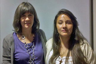 Sally Fairman and Paola Lopez pose for a photo.