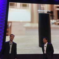 Ford CEO Mark Fields (R) and Greg Hart, Ford's vice president for Amazon Echo and Alexa Voice Services, speak at a press conference on CES Press Day, January 5, 2016.