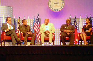 "Panelists at the ""Artists and Activism"" event at the 102nd NAACP Convention on July 27, 2011 included (from left to right): NAACP Hollywood Bureau Executive Director Vicangelo Bullock and actors Hill Harper, Harry Belafonte, Louis Gossett Jr. and Tatyana Ali."