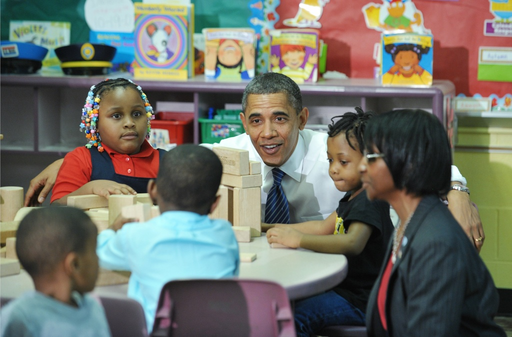 African American students being encouraged by President Obama