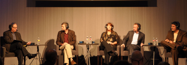 AirTalk host Larry Mantle with panelists (left to right) Chris Tilly, Marcy Drummond, Austin Beutner and Chris Thornberg.