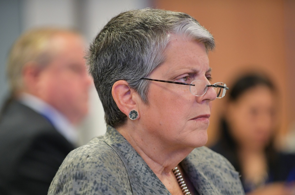 Janet Napolitano, president of the University of California, listens to a speaker during a discussion at The University of California Washington Center on September 21, 2017 in Washington, DC.