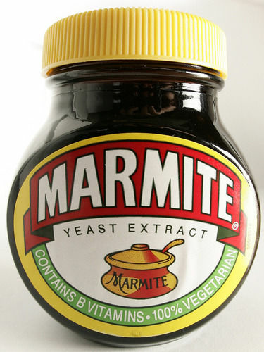 Marmite is made from yeast extract left behind from brewing beer, originating in Britain.