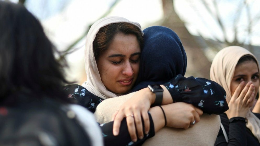 Nayab Khan, 22, cries at a vigil to mourn for the victims of the Christchurch mosque attacks in New Zealand, at the University of Pennsylvania in Philadelphia, Pennsylvania, on Friday.