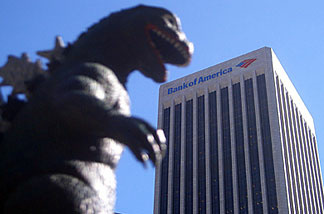 Godzilla eschews Hollywood's red carpet, deciding instead to make a withdrawal from his downtown bank account. (Credit: John Rabe)