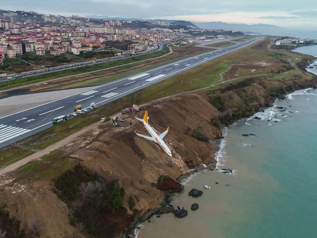 A Pegasus Airlines Boeing 737 passenger plane is seen stuck in mud on an embankment, a day after skidding off the airstrip, after landing at Trabzon Airport on Turkey's Black Sea coast on January 13.