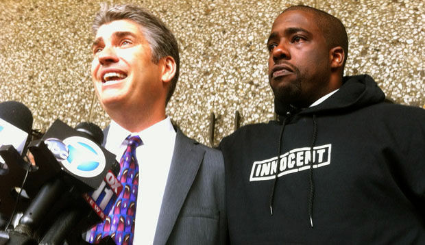 Brian Banks with his attorney Justin Brooks spoke to the media shortly after he was exonerated.