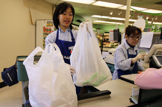 A cashier bags groceries in plastic bags at Nijiya Market June 2, 2010 in San Francisco, California. California may become the first state in the nation to ban plastic bags from grocery and convenience stores. In addition to the ban, consumers would be charged 5 cents per paper bag if they do not bring their own reusable bags. Assembly bill AB1998 is supported by Gov. Arnold Schwarzengger and is expected to pass an assembly vote this week before moving to the State Senate for a vote later this year.