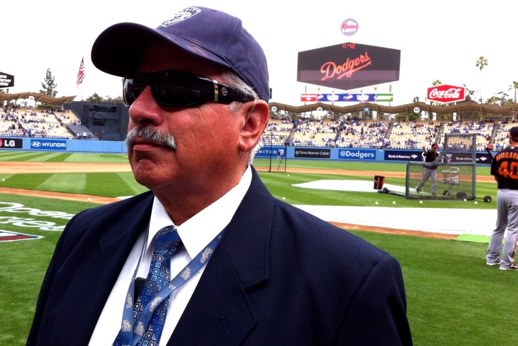 Richard Montano is not as severe as he looks; he's been working security at Dodger Stadium since 1981.