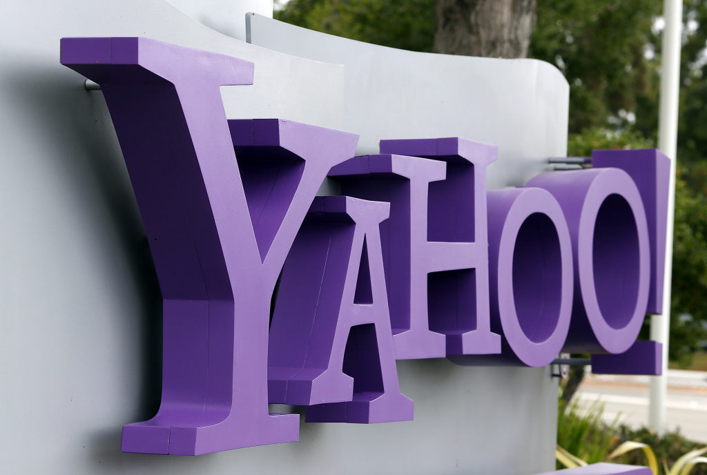SUNNYVALE, CA - JULY 17:  The Yahoo logo is displayed in front of the Yahoo headqarters on July 17, 2012 in Sunnyvale, California.