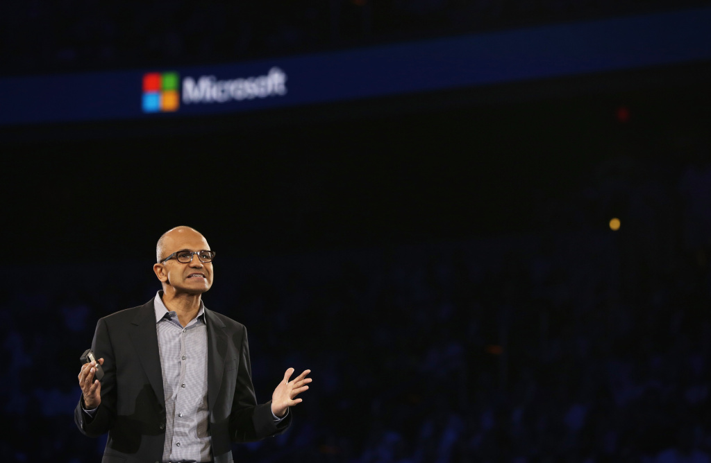 Microsoft CEO Satya Nadella delivers keynote remarks during the 2014 Microsoft Worldwide Partner Conference July 16, 2014 in Washington, DC.