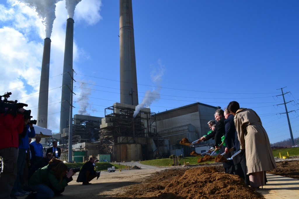 Groundbreaking at a Louisville, Ky., coal-burning power plant in November 2012. UC Irvine scientist Steven Davis estimates that all the power plants in the world built in 2012 will emit 19 billion tons of carbon emissions in their lifetimes.