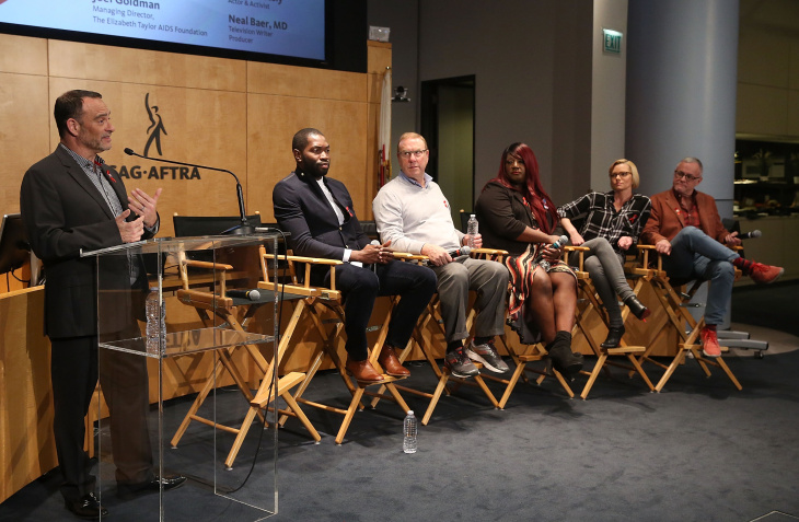 (L-R) Joel Goldman, Managing Director, The Elizabeth Taylor AIDS Foundation, writer Tarell Alvin McCraney, Dr. Michale Gottlieb, HIV and Trans activist Chandi Moore, actress Jamie Pressly and writer Neal Baer attend The Elizabeth Taylor AIDS Foundation World AIDS Day Event co-hosted by SAG-AFTRA at the at James Cagney Boardroom on November 30, 2016 in Los Angeles, California.  (Photo by Jesse Grant/Getty Images for The Elizabeth Taylor AIDS Foundation )