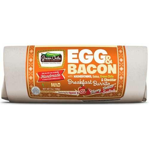 A Green Chile Company egg & bacon breakfast burrito.