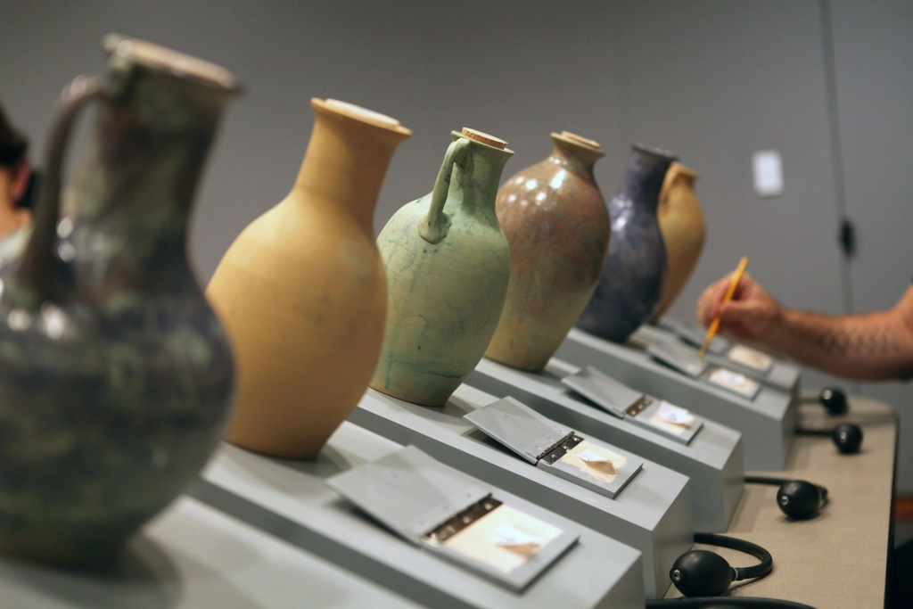 These vases are part of a summer-long exhibit at the Getty Villa featuring the scents of Ancient Rome.