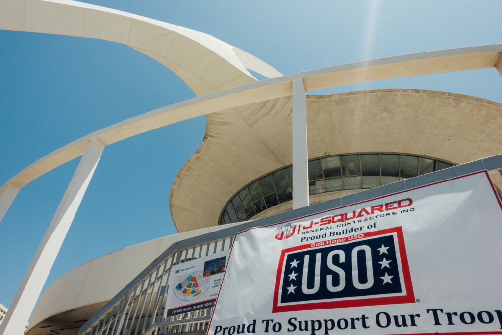 The new Bob Hope USO Airport Center is under construction in the base of the Theme Building at LAX.