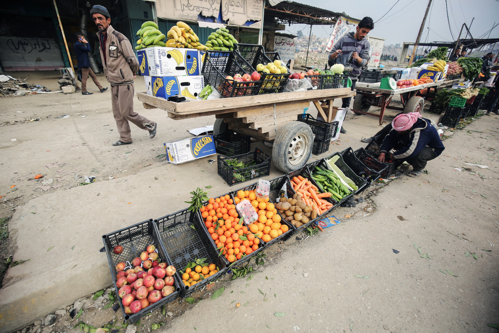 An Iraqi street vendor lays out his vegetable produce near the University of Mosul after government forces retook control of the area from ISIS on January 21, 2017.