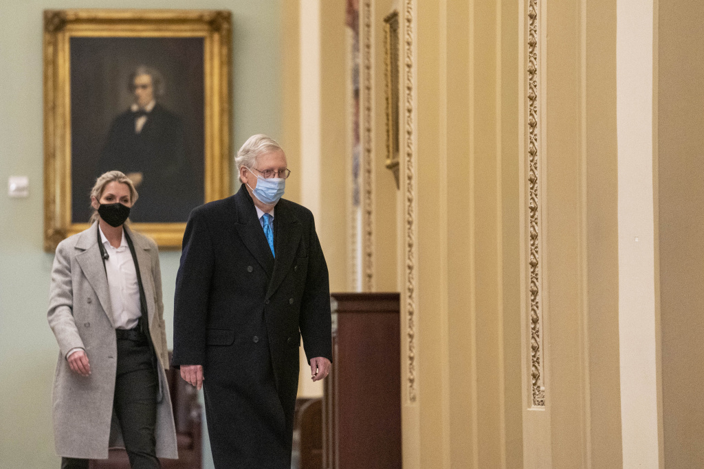 Senate Minority Leader Mitch McConnell (R-KY) walks through the Ohio Clock Corridor to his office in the U.S. Capitol on February 8, 2021 in Washington, DC.