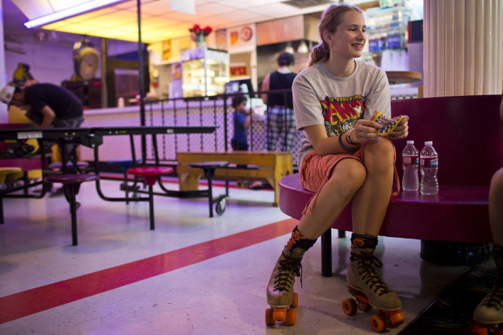 Sarah Weisz, 12, spends time at Moonlight Rollerway in Glendale on Tuesday afternoon, June 30, 2015. Weisz's mom used to come to the same roller skating rink as a kid.