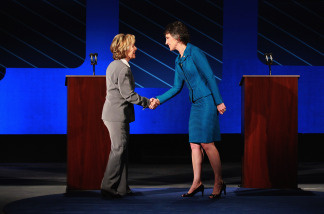 U.S. Sen. Barbara Boxer (D-CA) shakes hands with Republican candidate for U.S. Senate Carly Fiorina during a debate on the campus of Saint Mary's College on September 1, 2010.