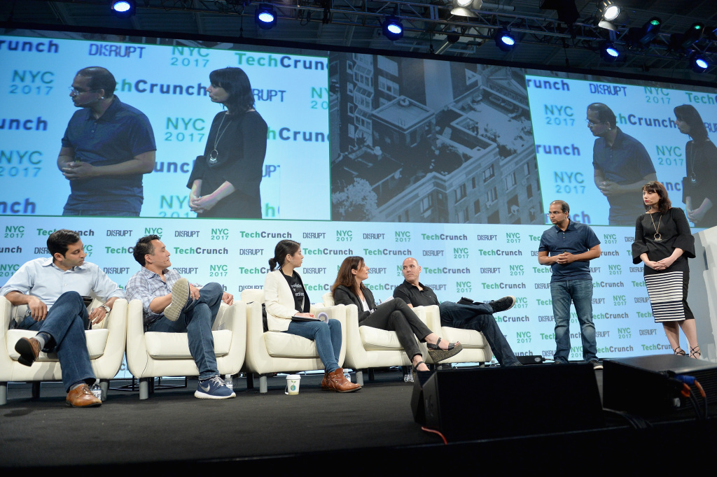 Co-Founder and CEO of Nexla Saket Saurabh and VP of Business at Nexla Jarah Euston speak onstage during Startup Battlefield TechCrunch Disrupt NY on May 16, 2017 in New York City. Recent research has shown a significant decline in start-up and entrepreneurial ventures.