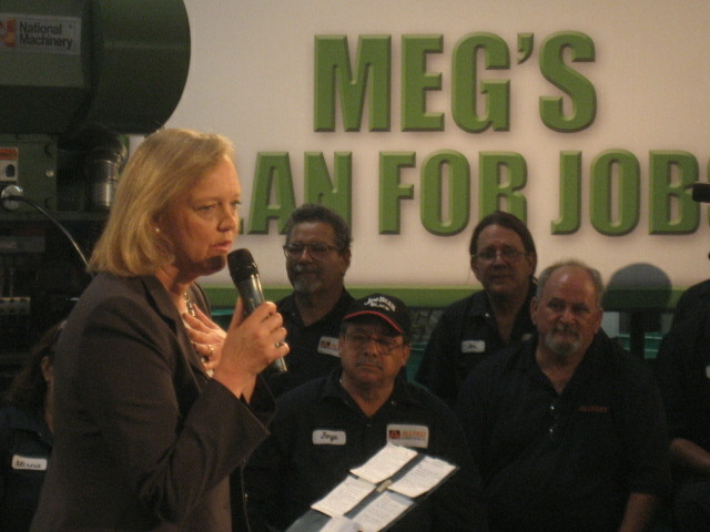 Republican gubernatorial candidate Meg Whitman campaigns at a rivet factory in the city of Industry on Thursday, Aug. 26, 2010. One poll suggests she for the first time leads Democrat Jerry Brown.