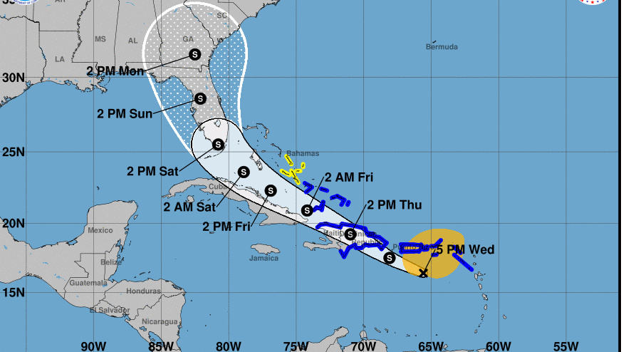 Potential Tropical Cyclone Nine is heading toward the Leeward Islands and is expected to arrive near or over Florida this weekend. The state says it will suspend coronavirus testing as a precaution.