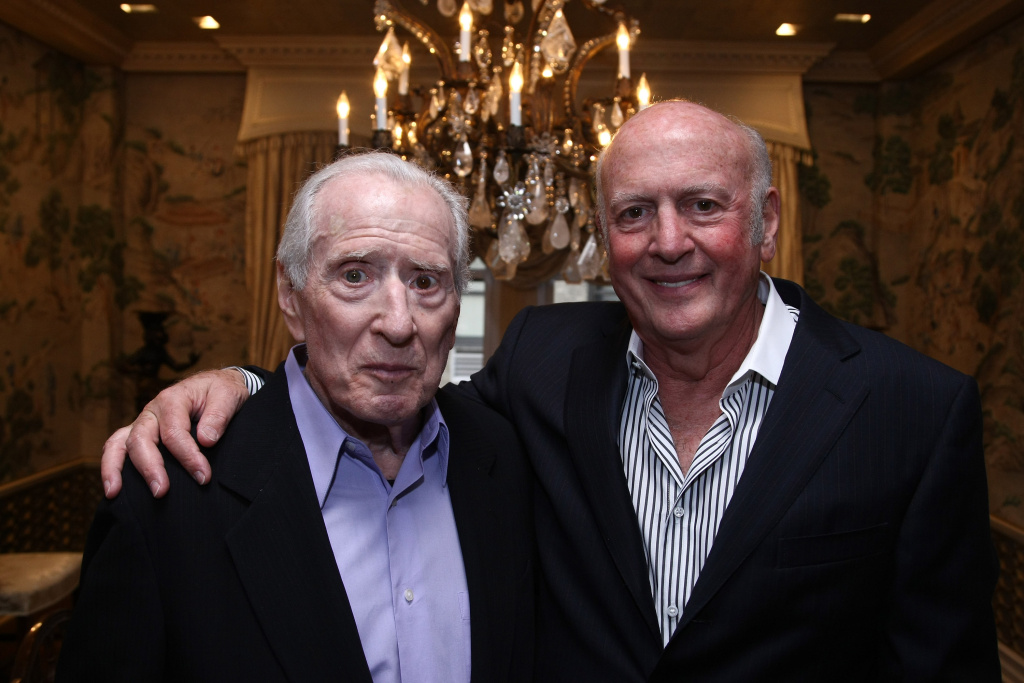 Songwriters Jerry Leiber (L) and Mike Stoller at the release party for their autobiography