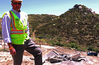Granite Construction operations manager Gary Johnson at Rosemary Quarry near Temecula. The company is selling the land for a similar quarry nearby.